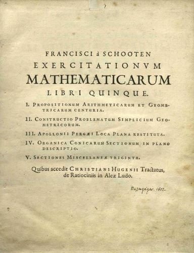 Download Francisci à Schooten Exercitationvm mathematicarum libri quinque.
