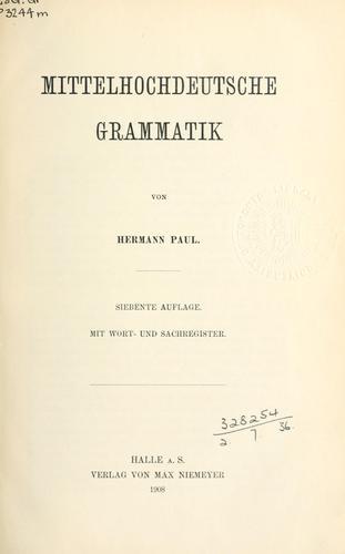 Download Mittelhochdeutsche Grammatik.