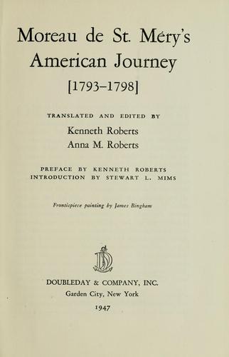 Download Moreau de St. Méry&#8217;s American journey <1793-1798>