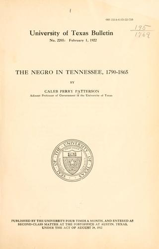 Download … The Negro in Tennessee, 1790-1865