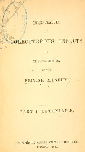 Nomenclature of coleopterous insects in the collection of the British Museum.