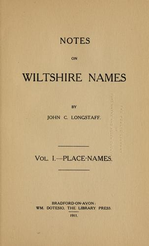 Notes on Wiltshire names.