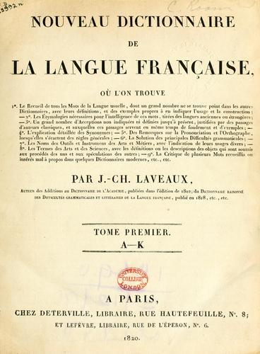 Nouveau dictionnaire de la langue française.