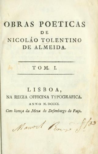 Obras poeticas de Nicolao Tolentino de Almeida.