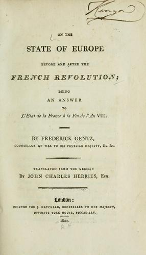 Download On the state of Europe before and after the French revolution