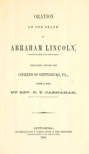 Download Oration on the death of Abraham Lincoln …