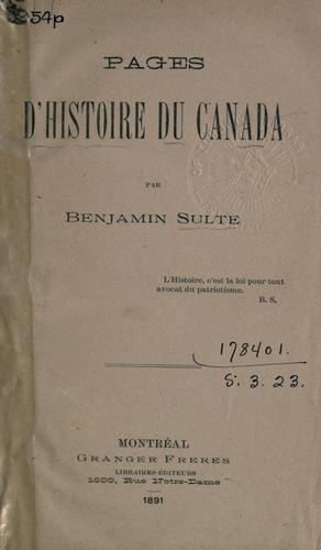 Pages d'histoire du Canada.