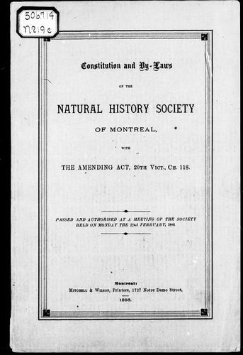 Download Constitution and by-laws of the Natural History Society of Montreal