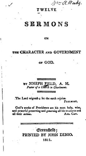 Twelve Sermons on the Character and Government of God