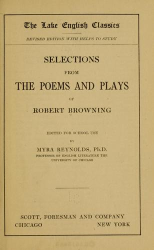 Download Selections from the poems and plays of Robert Browning