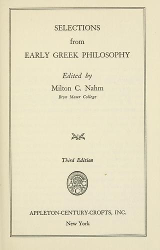 Selections from early Greek philosophy.