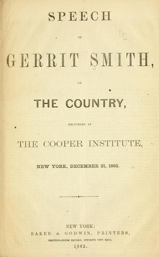 Speech of Gerrit Smith