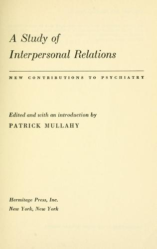 A study of interpersonal relations