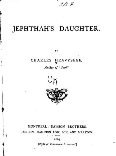 Jephthah's Daughter…