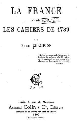 La France d'après les cahiers de 1789