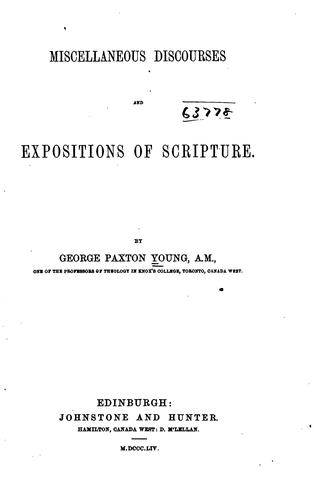 Miscellaneous Discourses and Expositions of Scripture