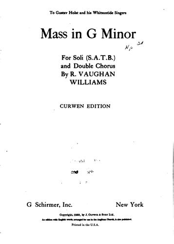 Mass in G minor for soli (S.A.T.B.) and double chorus