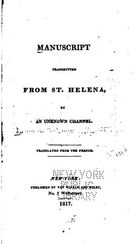 Manuscript Transmitted from St. Helena
