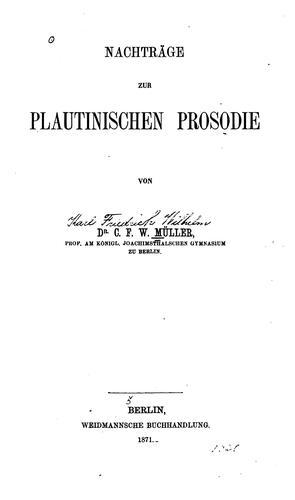 Nachträge zur plautinischen Prosodie