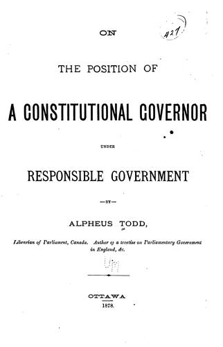 On the Position of a Constitutional Governor Under Responsible Government
