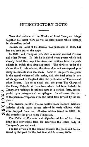Download The Works of Alfred, Lord Tennyson, Poet Laureate