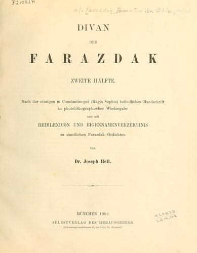 Download Divan des Farazdak