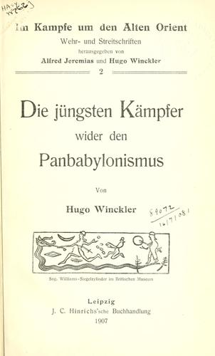 Download Die jüngsten Kämpfer wider den Panbabylonismus.
