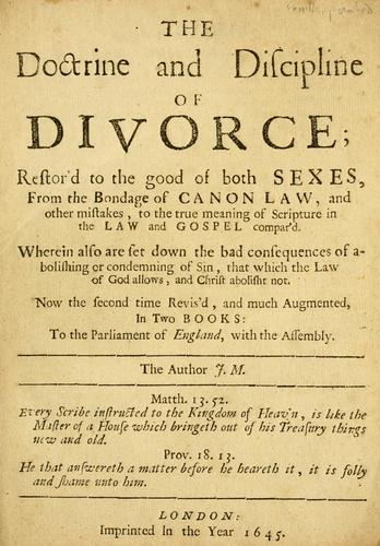 Download The doctrine & discipline of divorce