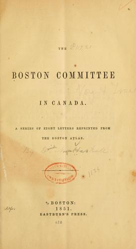 The Boston Committee in Canada