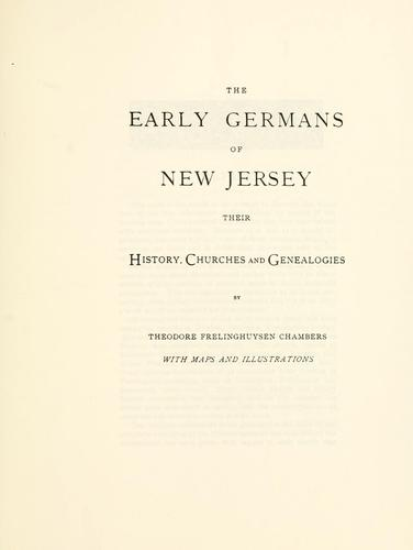 The early Germans of New Jersey