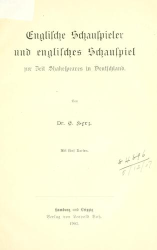 Download Englische Schauspieler und englisches Schauspiel zur Zeit Shakespeares in Deutschland.