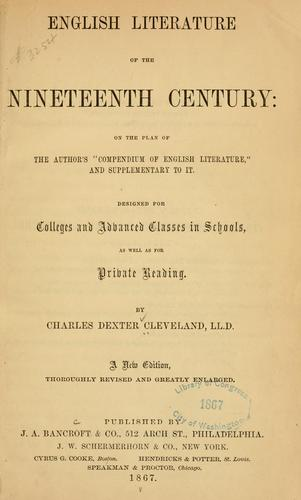 English literature of the nineteenth century …