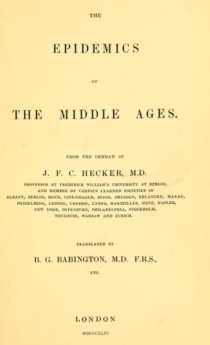 Download The epidemics of the Middle Ages