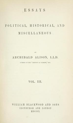 Essays political, historical, and miscellaneous