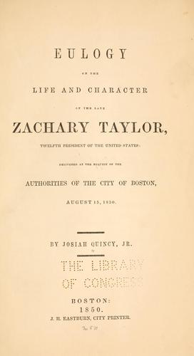 Download Eulogy on the life and character of the late Zachary Taylor