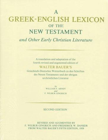 Download A Greek-English lexicon of the New Testament and other early Christian literature