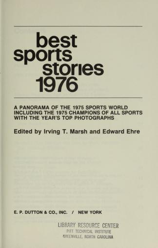 Cover of: Best Sports Stories 1976 |
