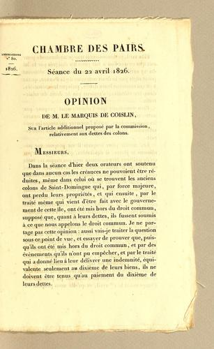 Opinion by Coislin marquis de.