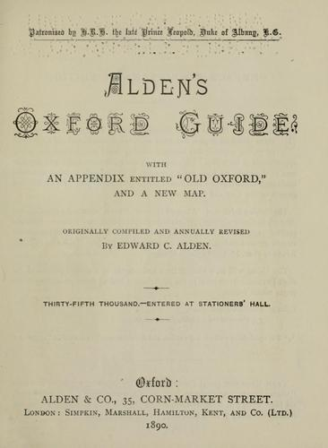 Alden's Oxford guide by Edward C. Alden