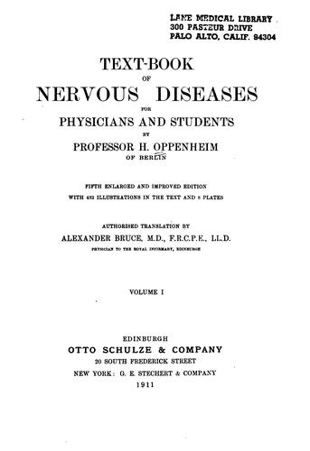 Text-book of nervous diseases for physicians and students v. 2 by Hermann Oppenheim