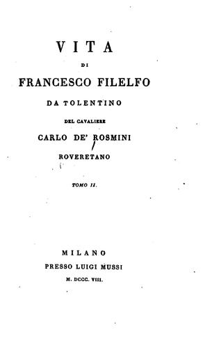 Vita di Francesco Filelfo by Carlo de' Rosmini