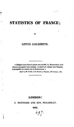 Statistics of France by Lewis Goldsmith