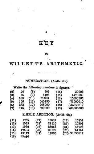Key to Willetts' Mental and Practical Arithmetic: Solely Designed for the Use of Teachers by Jacob Willetts