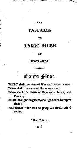 The Pastoral Or Lyric Muse of Scotland: In Three Cantos by Hector Macneill
