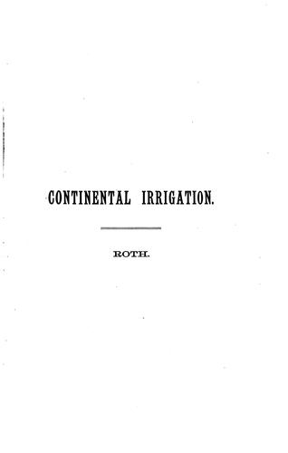 Notes on Continental Irrigation with Plates by Henry Ling Roth