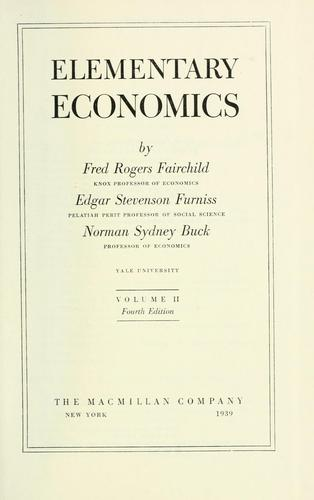 Elementary economics by Fred Rogers Fairchild